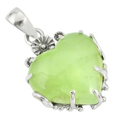 20.17cts natural green prehnite 925 sterling silver flower pendant r77842