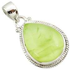 17.38cts natural green prehnite 925 sterling silver pendant jewelry d44788