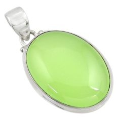 20.10cts natural green prehnite 925 sterling silver pendant jewelry r45902