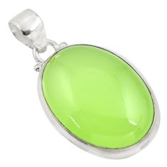 20.65cts natural green prehnite 925 sterling silver pendant jewelry r45984