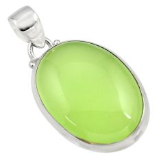 20.38cts natural green prehnite 925 sterling silver pendant jewelry r45990