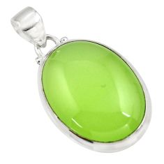 21.50cts natural green prehnite 925 sterling silver pendant jewelry r45993