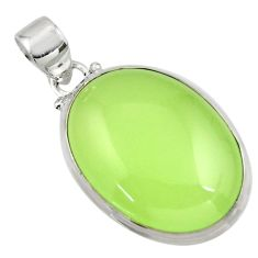 20.18cts natural green prehnite 925 sterling silver pendant jewelry r45999