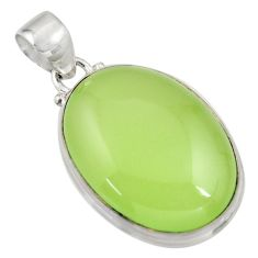 21.68cts natural green prehnite 925 sterling silver pendant jewelry r46000