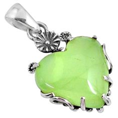 15.26cts natural green prehnite 925 sterling silver pendant jewelry r67582