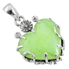 14.79cts natural green prehnite 925 sterling silver pendant jewelry r67583