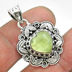 5.16cts natural green prehnite 925 sterling silver pendant jewelry t56141
