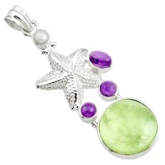 Clearance Sale- 24.10cts natural green prehnite amethyst 925 silver star fish pendant d44785