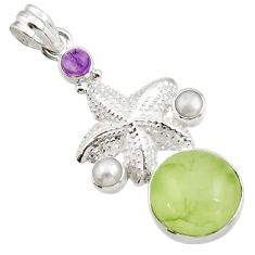 Clearance Sale- 19.99cts natural green prehnite amethyst 925 silver star fish pendant d44789