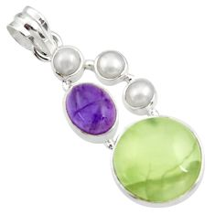 Clearance Sale- 21.58cts natural green prehnite amethyst 925 sterling silver pendant d44783