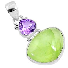 15.65cts natural green prehnite amethyst 925 sterling silver pendant r70353