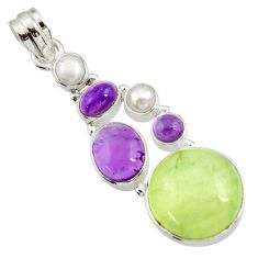 Clearance Sale- 24.65cts natural green prehnite amethyst pearl 925 silver pendant d44781