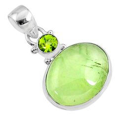 12.58cts natural green prehnite oval peridot 925 sterling silver pendant r70354