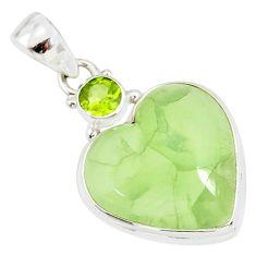 16.73cts natural green prehnite peridot 925 sterling silver heart pendant r86381