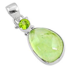 13.12cts natural green prehnite peridot 925 sterling silver pendant r70344