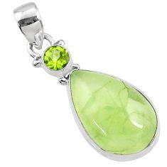 14.07cts natural green prehnite peridot 925 sterling silver pendant r70347