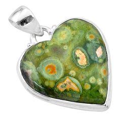 18.15cts natural green rainforest rhyolite jasper 925 silver pendant t13461