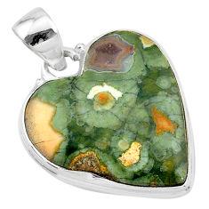 16.23cts natural green rainforest rhyolite jasper 925 silver pendant t13462