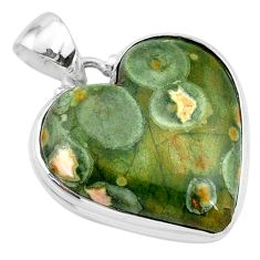 19.23cts natural green rainforest rhyolite jasper 925 silver pendant t13463
