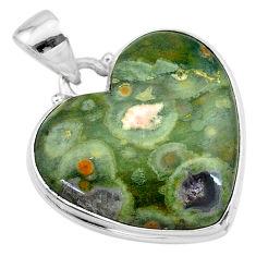 19.18cts natural green rainforest rhyolite jasper 925 silver pendant t13474