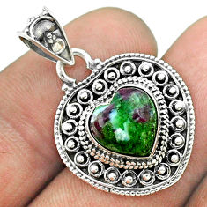 4.66cts natural green ruby zoisite 925 sterling silver heart pendant t56192