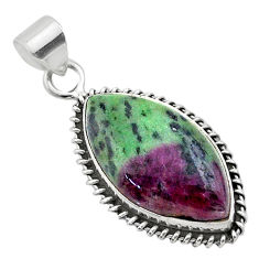 18.68cts natural green ruby zoisite 925 sterling silver pendant jewelry t44748