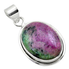 22.02cts natural green ruby zoisite 925 sterling silver pendant jewelry t44750