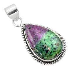 17.18cts natural green ruby zoisite pear sterling silver pendant jewelry t44743