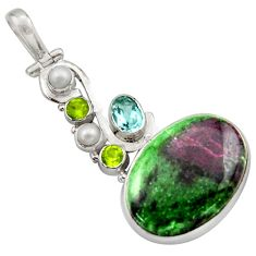 24.73cts natural green ruby zoisite topaz 925 sterling silver pendant d46754