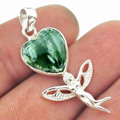 6.64cts natural green seraphinite (russian) 925 silver angel pendant t55226