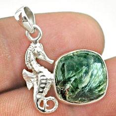 6.19cts natural green seraphinite (russian) 925 silver seahorse pendant t55250