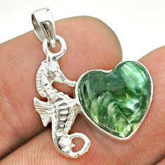 6.61cts natural green seraphinite (russian) 925 silver seahorse pendant t55306