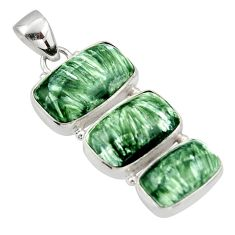 20.05cts natural green seraphinite (russian) 925 sterling silver pendant d47394