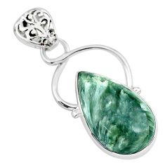 14.65cts natural green seraphinite (russian) 925 sterling silver pendant r94575