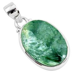 13.70cts natural green seraphinite (russian) 925 sterling silver pendant r94576
