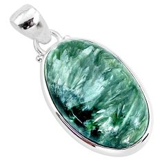 15.08cts natural green seraphinite (russian) 925 sterling silver pendant r94579