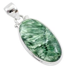 14.68cts natural green seraphinite (russian) 925 sterling silver pendant r94842