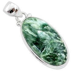 15.08cts natural green seraphinite (russian) 925 sterling silver pendant r94843