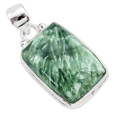 16.20cts natural green seraphinite (russian) 925 sterling silver pendant r94846