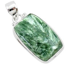 15.65cts natural green seraphinite (russian) 925 sterling silver pendant r94847