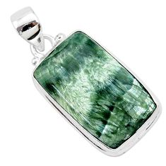 16.20cts natural green seraphinite (russian) 925 sterling silver pendant r94849