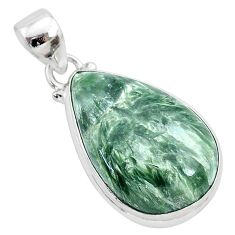 14.23cts natural green seraphinite (russian) 925 sterling silver pendant r94852