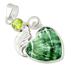 12.07cts natural green seraphinite (russian) peridot 925 silver pendant d47402