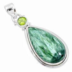 15.65cts natural green seraphinite (russian) peridot 925 silver pendant r94569