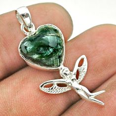 6.52cts natural green seraphinite 925 silver angel wings fairy pendant t55270