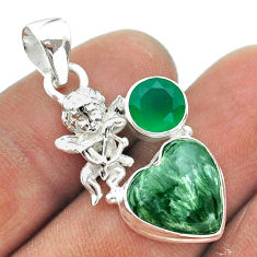 8.03cts natural green seraphinite chalcedony 925 silver angel pendant t55422