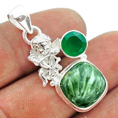 8.03cts natural green seraphinite chalcedony 925 silver angel pendant t55432