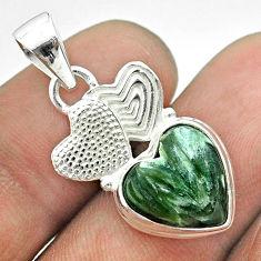 6.27cts natural green seraphinite heart 925 silver couple hearts pendant t55465