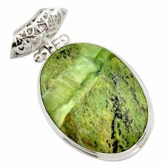 19.07cts natural green swiss imperial opal 925 sterling silver pendant d42322