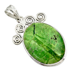 17.57cts natural green swiss imperial opal 925 sterling silver pendant r27676